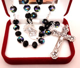 Glass Rosary Black/Tin Cut Bead/Crystal -louies-gifts