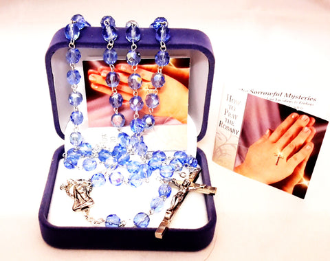 Glass Rosary Blue /Crystal -louies -gifts
