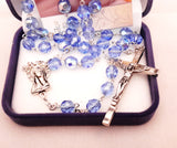 Glass Rosary Blue /Crystal -louies -gifts - Louie's Gift Shop