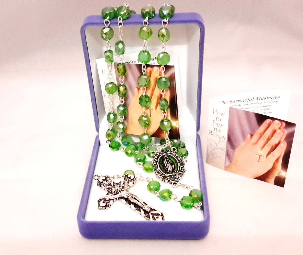 Glass rosary real crystal green - louies-gifts - Louie's Gift Shop