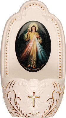 "Porcelain Divine Mercy Jesus small Holy water font 5"" florentine collection - Louie's Gift Shop"
