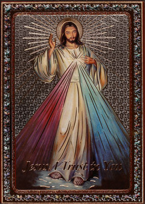 Divine Mercy Icon gold and silver foil  by -cbc