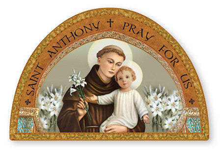 St.Anthony of Padua Icon/Plaque with Gold Foil Hightlights - Louie's Gift Shop