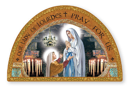 Our Lady of Lourdes Icon/Plaque Foil Gold highlights