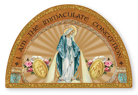 Miraculous Medal /Wood Plaque/icon/ Gold Foil - Louie's Gift Shop