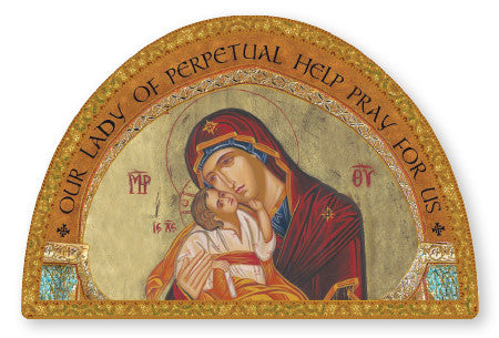 Our Lady of Perpetual Help Icon/Plaque Gold Foil Highlights - Louie's Gift Shop