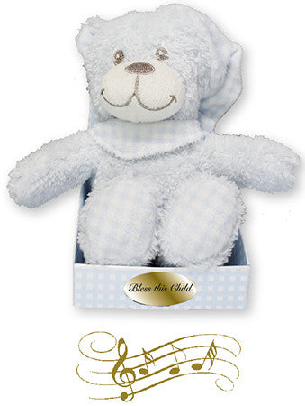 Bless this child Musical Bear Blue - Louie's Gift Shop