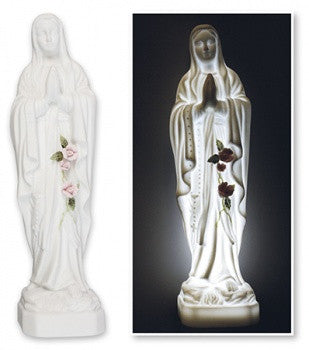 "Porcelain Our Lady of Lourdes Statue 8""/With Led Light - Louie's Gift Shop"
