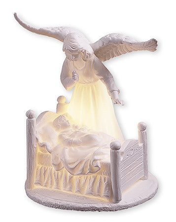 "Ceramic Guardian Angel 6 1/2""/With Light With Led Light - Louie's Gift Shop"