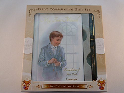 First Communion Set ~ Boy ~ Mass Book and Pen - Louie's Gift Shop