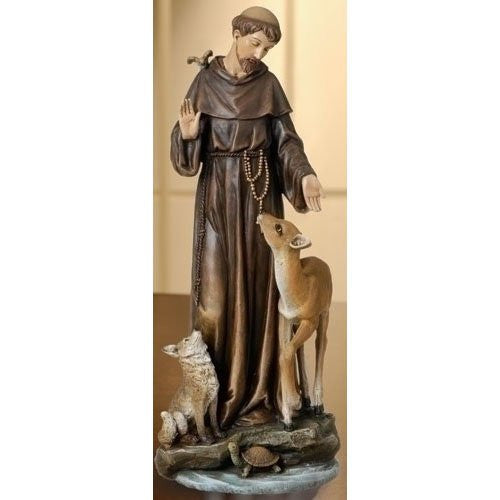 St. Francis with Deer Figurine- Joseph's Studio - Louie's Gift Shop