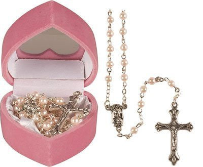 Baby's First ROSARY BEADS Rosaries Girl Pink Childrens & Leaflet