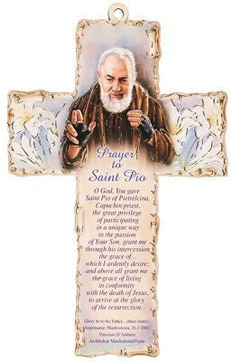 "Laser Engraved Wood Wooden 6"" Crucifix Cross Plaque PRAYER To  SAINT PIO"