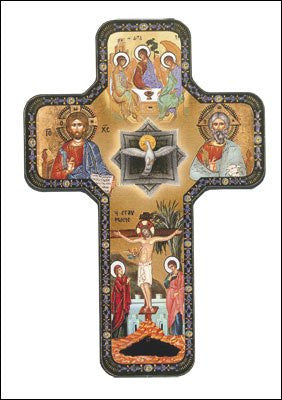 Icon Holy Trinity Wooden Cross Foil Etched - Louie's Gift Shop