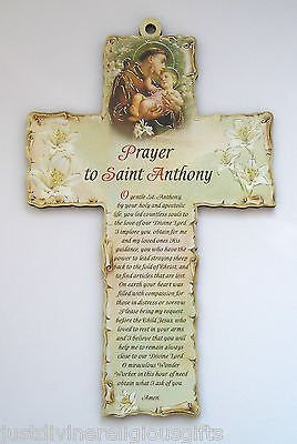"Laser Engraved Wood Wooden 6"" Crucifix Cross Plaque PRAYER TO  SAINT ANTHONY - Louie's Gift Shop"