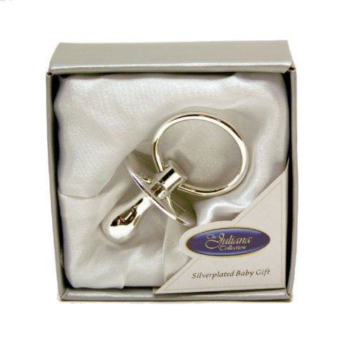 SILVER PLATED DUMMY NEW BABY GIFT PRESENTED IN GIFT BOX - Louie's Gift Shop