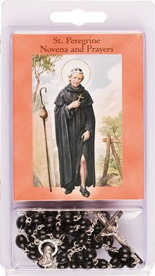 Rosaries Beads & Novena Booklet Black St Saint PEREGRINE - Louie's Gift Shop