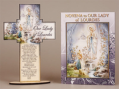 Novena Book and Cross- Our Lady of Lourdes - by-cbc - Louie's Gift Shop