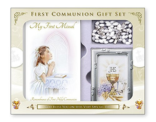 First Holy Communion  Gift Set Girl Book, Rosary Beads and Photo Frame - Louie's Gift Shop