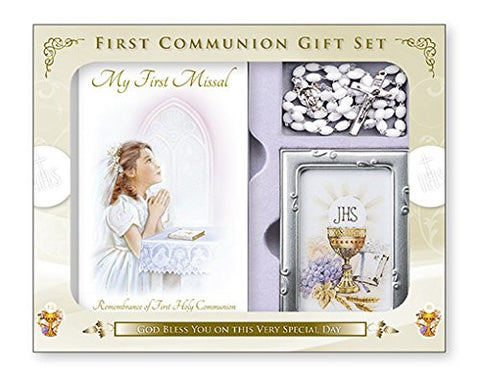 First Holy Communion  Gift Set Girl Book, Rosary Beads and Photo Frame