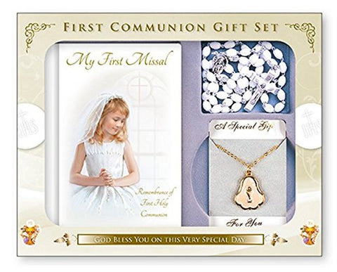 First  Communion gift set Missal and Rosary, Chalice Necklace