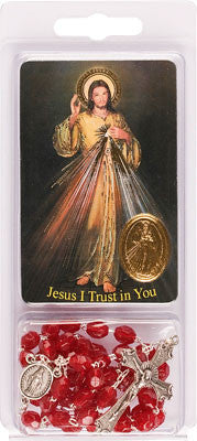 Divine Mercy Chaplet rosary and Prayer Card