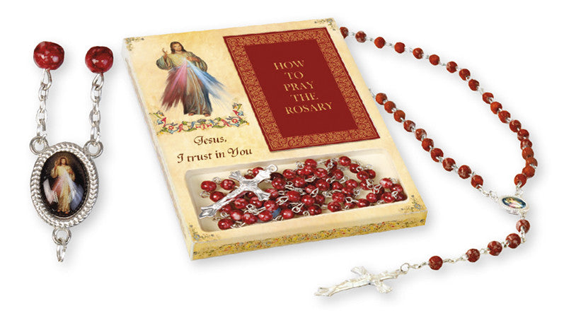 Divine Mercy glass rosary and Booklet set - Louie's Gift Shop