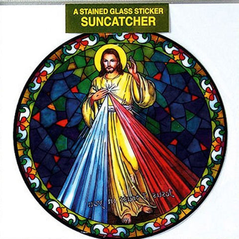 Divine Mercy Window Sticker - Sun Catcher Tiffany Style Window Sticker