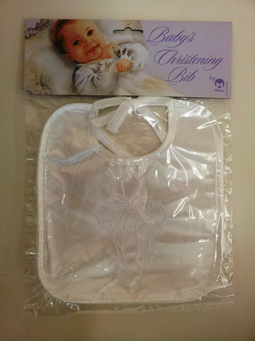 BABY WHITE SATIN CHRISTENING BIB WITH CROSS AND RIBBON EMBROIDERED MOTIF