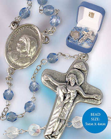 Baby's First ROSARY BEADS Rosaries Boy Blue Childrens & Leaflet - Louie's Gift Shop