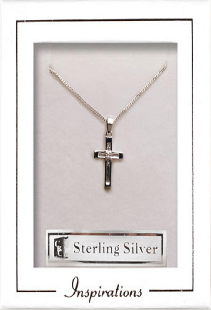 Silver Cross with crystal stone - Louie's Gift Shop