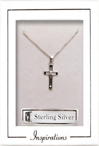 Silver Cross with crystal stone