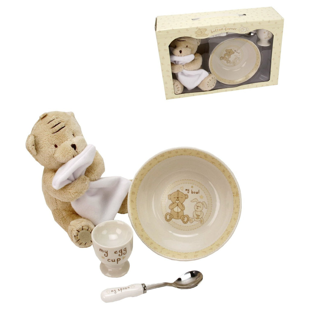 Button Corner Ceramic Breakfast Set & Plush Teddy 17cm - Louie's Gift Shop