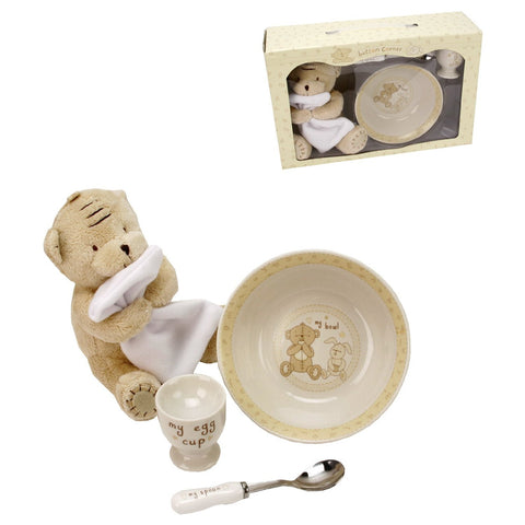 Button Corner Ceramic Breakfast Set & Plush Teddy 17cm