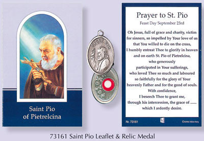 Prayer Verse Card Saint St. Pio of Pietrelcina with Silver Coloured Metal Medal