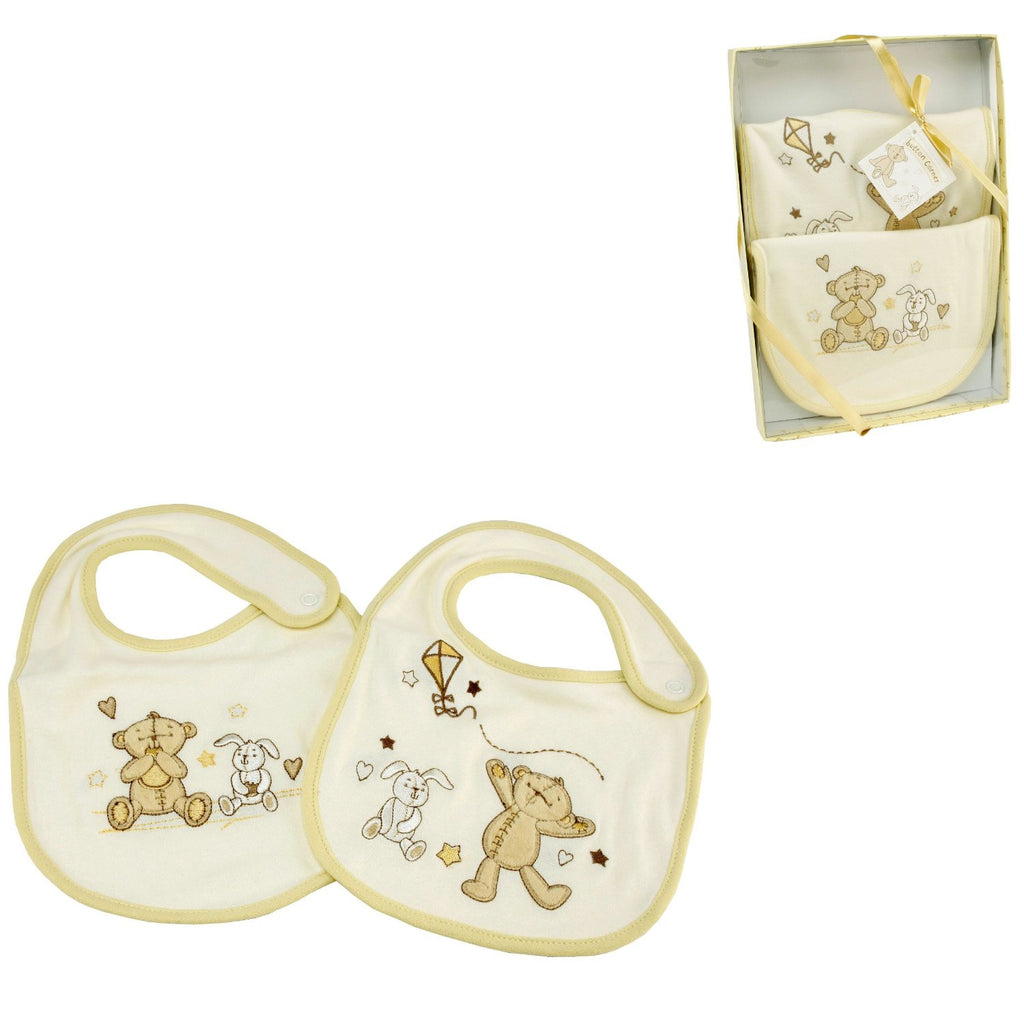 Button Corner Embroidered Set of 2 Baby Bibs - Louie's Gift Shop