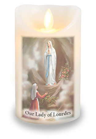 Led Light Candle Our Lady of Lourdes - Louie's Gift Shop