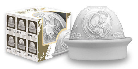 Sculptured Porcelain Dome Light The Holy Family ~ LED Light - Louie's Gift Shop