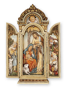 "Resin Nativity Holy-Family/Triptych 9 1/4"" With Light - Louie's Gift Shop"