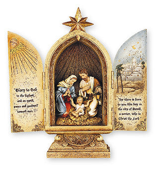 "Resin Nativity Holy Family/Triptych 10"" - Louie's Gift Shop"