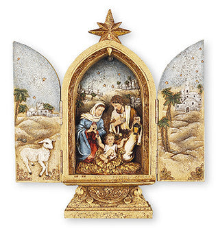 "Resin Nativity Holy.- Family/Triptych 9 3/4"" With Light - Louie's Gift Shop"