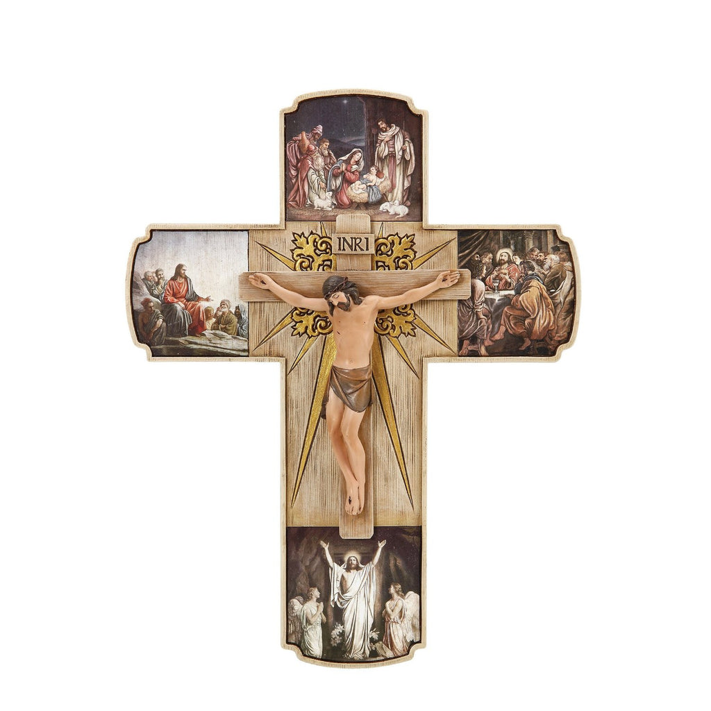 Josephs Studio Life of Christ Crucifix Depicts Christ on The Cross in The Center and Four Scenes from His Life Statue, 12-Inch - Louie's Gift Shop
