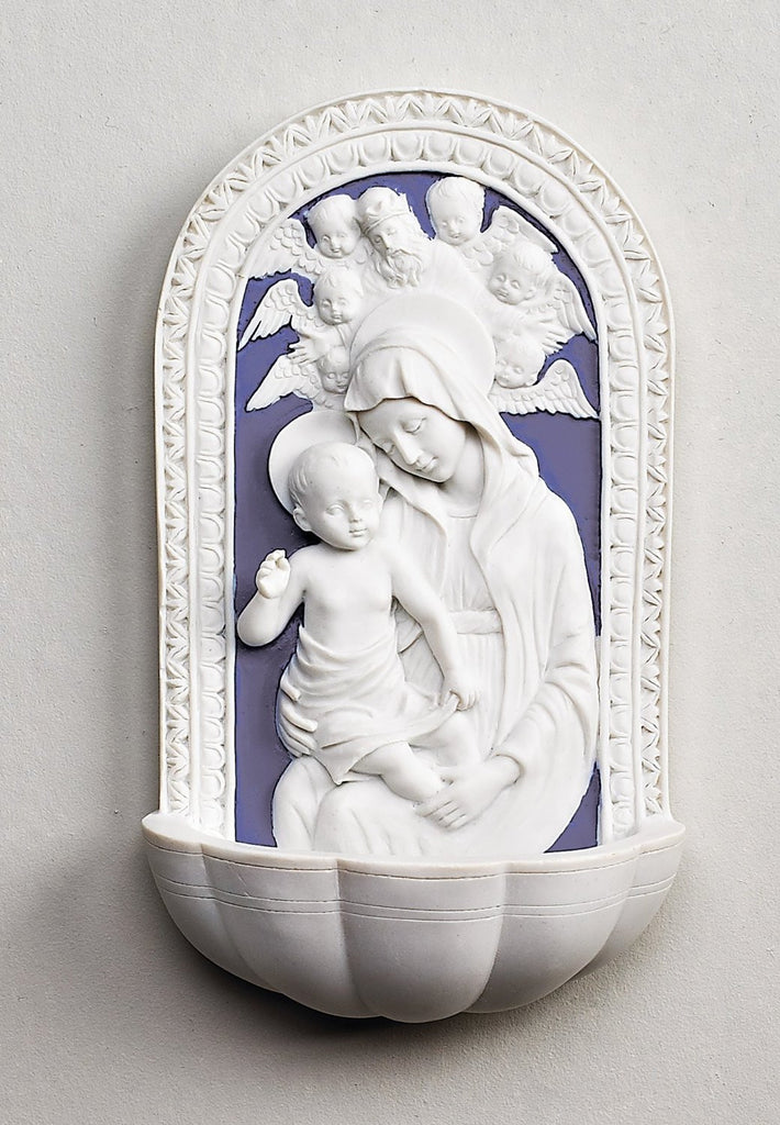 Della Robbia Madonna and Child Holy Blue and White Water Font- by -Roman .Inc - Louie's Gift Shop