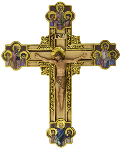 Joseph's Studio Wall Cross Depicts Jesus Framed in Gold Scrollwork Surrounded by The 12 Apostles