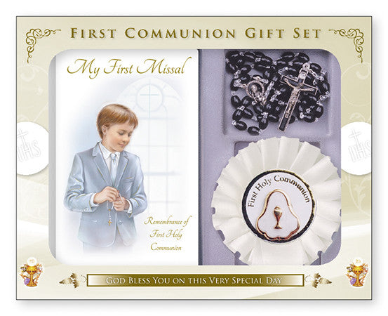 Communion Gift Set/Boy/Black Rosary - Louie's Gift Shop
