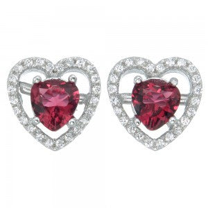 Sterling Silver Pink Heart shaped Earrings set with Cubic Zirconia's - Louie's Gift Shop
