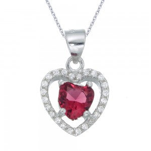 Sterling silver CZ Heart Pendant with Ruby Centre Stone