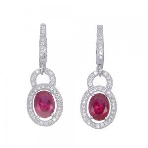 Sterling Silver Earrings set in Cubic Zirconias and large Pink Stone - Louie's Gift Shop