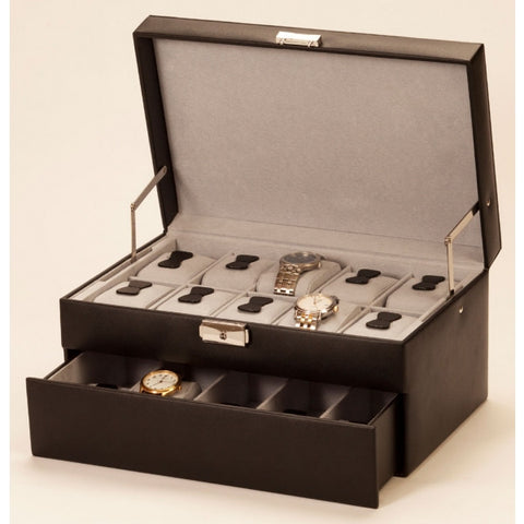 Large Lockable Black Watch Box with Auto Tray-Mele and Co - 436
