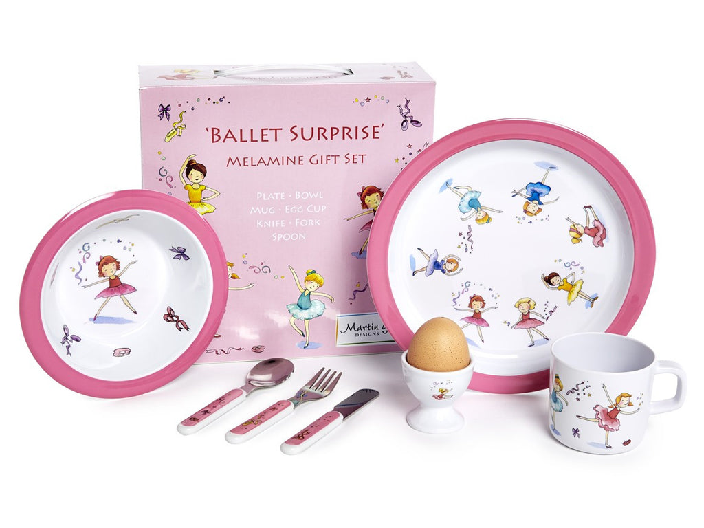 CHILDREN'S 7 PIECE MELAMINE SET - Ballet Surprise-Martin Gulliver Designs - Louie's Gift Shop